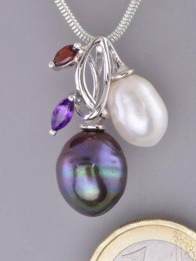 Perlen Anhänger mit Edelsteinen und Silber, Flora Collection