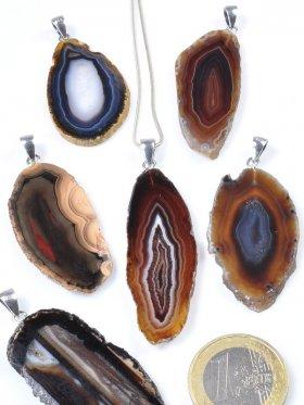 Achatscheibe Braunfarbe, Anhänger mit Öse