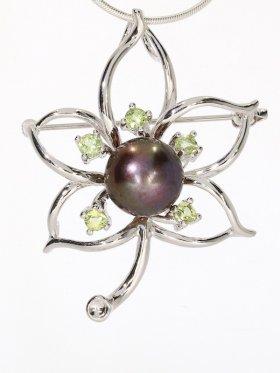 Perle Anhänger/Brosche mit Edelsteinen, Flora Collection