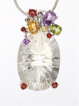 Bergkristall mit Edelsteinen, Anhänger, Flora-Collection