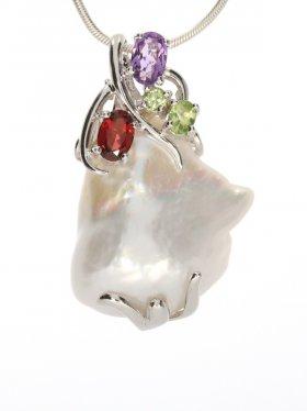 Süßwasserperle, Anhänger mit Silber und Edelsteinen, Flora Collection
