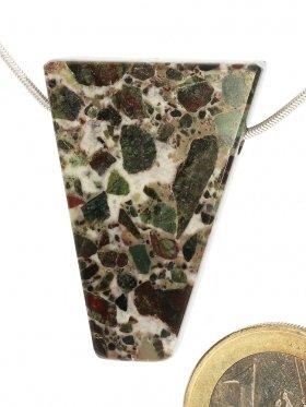 Souvenir aus der Toskana, Anhänger in Brekzienmarmor, seitlich gebohrt, Unikat