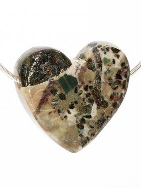 Souvenir aus der Toskana, Anhänger Herz in Brekzienmarmor, seitlich gebohrt, Unikat