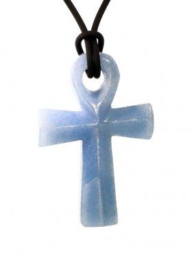 Blauquarz, Anch-Kreuz, Anhänger mit Lederband