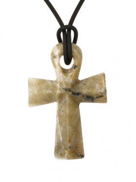 Feldspat, Anch-Kreuz, Anhänger mit Lederband