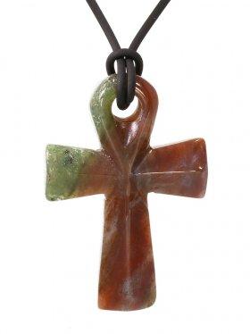 Jaspis bunt, Anch-Kreuz, Anhänger mit Lederband