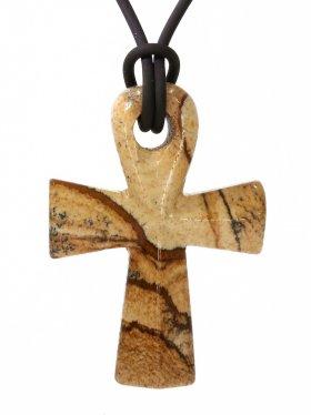 Landschaftsjaspis, Anch-Kreuz, Anhänger mit Lederband