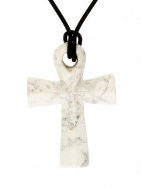 Magnesit, Anch-Kreuz, Anhänger mit Lederband