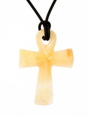 Quarz, Anch-Kreuz, Anhänger mit Lederband