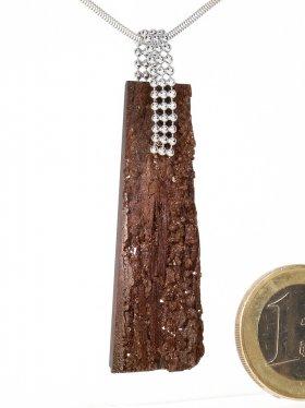 Souvenir aus Sachsen - Anhänger aus versteinertem Holz mit Silberöse