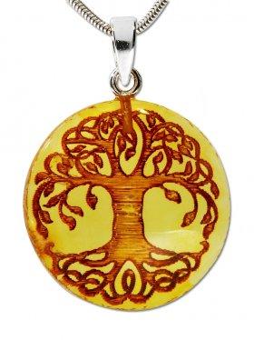 Bernstein aus Litauen, Baum des Lebens, Anhänger mit Öse in verschiedenen Größen