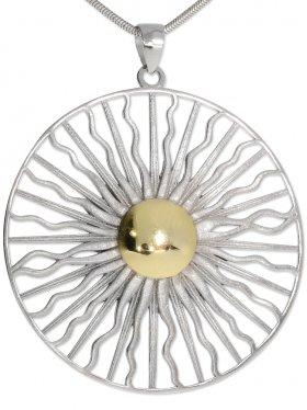Sonne ø 24 mm oder ø 45 mm, Anhänger mit Öse in 925 Silber, 1 St.