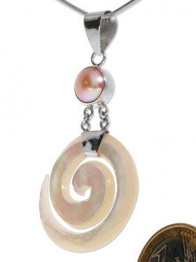 Perlmutt weiß mit pinker Perle, Anhänger mit Öse, 925 Silber, VE 1 Stück