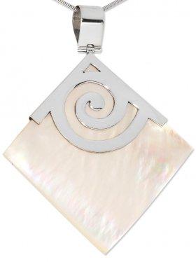 Perlmutt weiß, Anhänger Quadrat mit Öse, 925 Silber, 1 St.