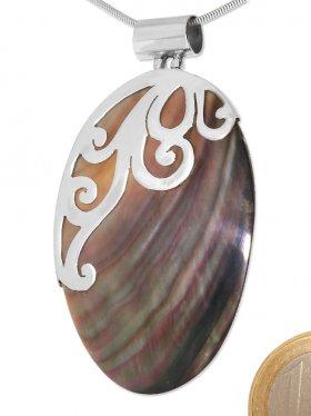 Perlmutt grau, Anhänger oval mit Röhrchen, 925 Silber, 1 St.