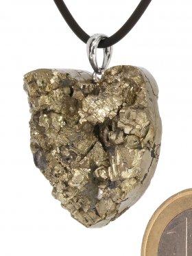 Souvenir aus Frankreich - Pyrit Anhänger in Herzform, mit Öse in 925 Silber rhod. (Unikat)