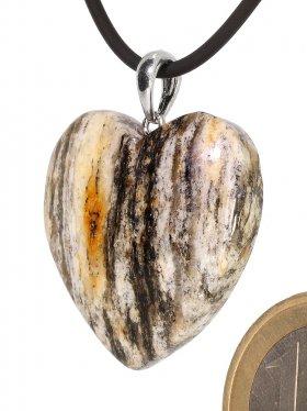Souvenir aus der Türkei - Gneis Anhänger in Herzform, Öse 925 Silber rhod. (Unikat)