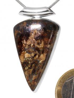Bronzit aus Brasilien, Anhänger gefasst in Silber mit Röhrchen, ca. 43/24 mm, Unikat