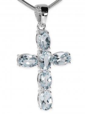 Aquamarin, Kreuz Anhänger in 925 Silber gefasst mit Öse