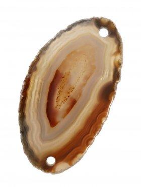 Achatscheibe gefärbt (Erdtöne), 2-fach gebohrt, Modell 2, 1 St.