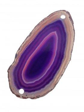 Achatscheibe gefärbt (Violettöne), 2-fach gebohrt, Modell 2, 1 St.