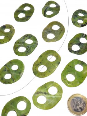 Jade Nephrit, gewellt, Element zum Fädeln