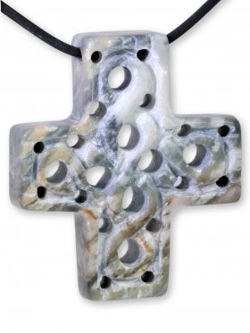 Picassomarmor aus den USA, Anhänger Kreuz mit Gravur