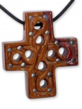 Mookait aus Australien, Anhänger Kreuz mit Gravur