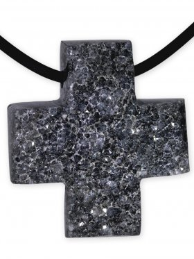 Amethyst aus Brasilien, Anhänger Kreuz gebohrt, Unikat