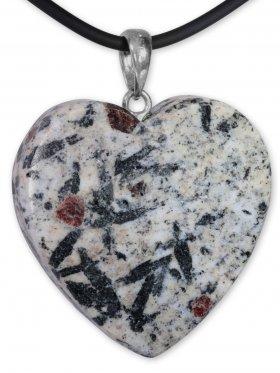 Granat und Hornblende aus dem Zillertal, Anhänger Herz mit Öse, Unikat