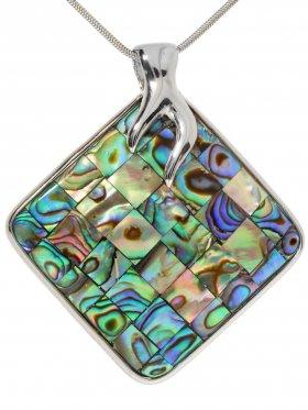Abalone (Perlmutt) Mosaik, Anhänger in Silber gefasst, 925 Silber, 1 Stück