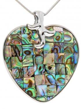 Abalone (Perlmutt) Mosaik, Anhänger, Herzform, in Silber gefasst, 925 Silber, 1 Stück