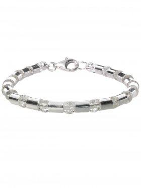 Armband aus dem Schmuckstein Bergkristall kombiniert mit Silberröhrchen aus 925 Silber rhodiniert