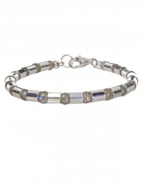 Armband aus dem Schmuckstein Labradorit kombiniert mit Silberröhrchen aus 925 Silber rhodiniert
