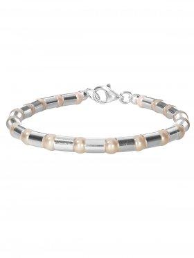 Armband aus dem Schmuckstein Muschelkernperle cremefarben kombiniert mit Silberröhrchen aus 925 Silber rhodiniert