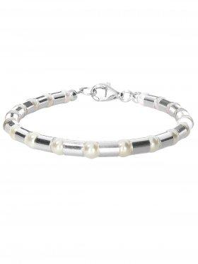 Armband aus dem Schmuckstein Muschelkernperle weiss kombiniert mit Silberröhrchen aus 925 Silber rhodiniert