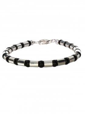 Armband aus dem Schmuckstein Onyx kombiniert mit Silberröhrchen aus 925 Silber rhodiniert