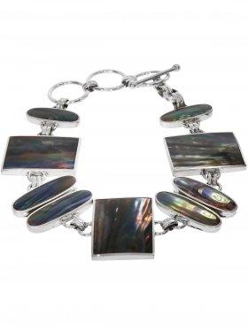 Perlmutt black rainbow, Armband in 925 Silber gefasst, 1 St.