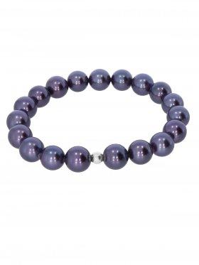 Muschelkernperle ø 10 mm dunkelblau, Armband auf Elastikband mit Geschenkbeutel, 1 St.