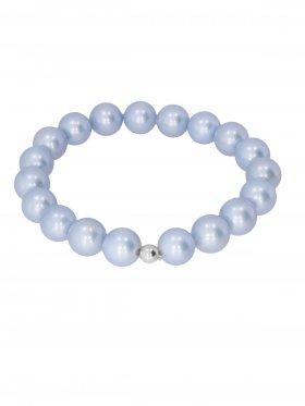 Muschelkernperle ø 10 mm hellblau, Armband auf Elastikband mit Geschenkbeutel, 1 St.