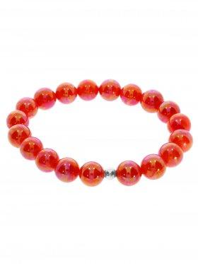 Muschelkernperle ø 10 mm korallefarben, Armband auf Elastikband mit Geschenkbeutel, 1 St.