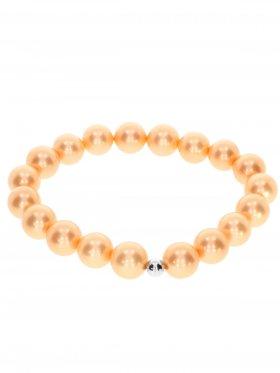Muschelkernperle ø 10 mm orange, Armband auf Elastikband mit Geschenkbeutel, 1 St.