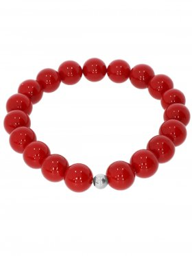 Muschelkernperle ø 10 mm rot, Armband auf Elastikband mit Geschenkbeutel, 1 St.