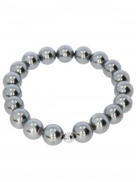 Muschelkernperle ø 10 mm silber 4, Armband auf Elastikband mit Geschenkbeutel, 1 St.