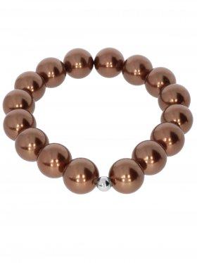 Muschelkernperle ø 12 mm bronze, Armband auf Elastikband mit Geschenkbeutel, 1 St.