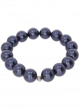 Muschelkernperle ø 12 mm dunkelblau, Armband auf Elastikband mit Geschenkbeutel, 1 St.