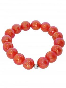 Muschelkernperle ø 12 mm koralle, Armband auf Elastikband mit Geschenkbeutel, 1 St.
