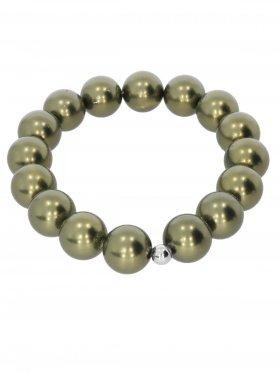 Muschelkernperle ø 12 mm olivgrün, Armband auf Elastikband mit Geschenkbeutel, 1 St.