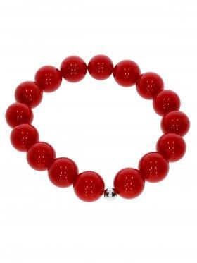 Muschelkernperle ø 12 mm rot, Armband auf Elastikband mit Geschenkbeutel, 1 St.