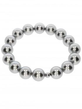 Muschelkernperle ø 12 mm silber 3, Armband auf Elastikband mit Geschenkbeutel, 1 St.